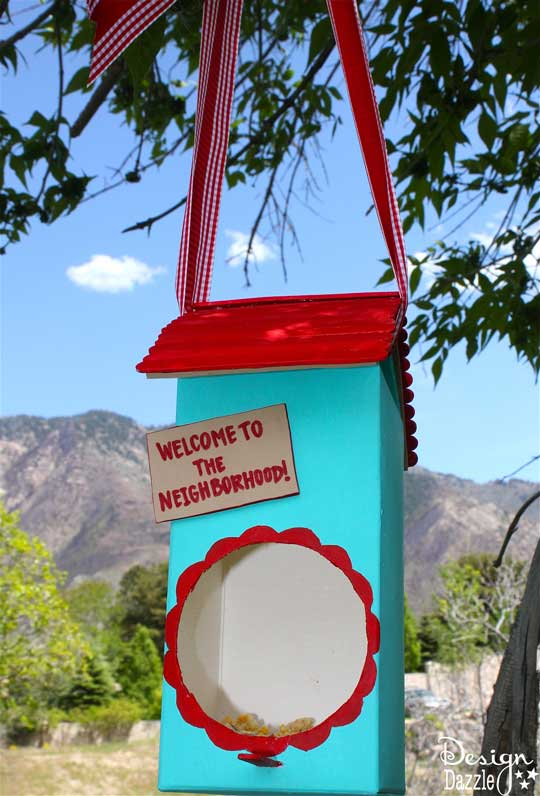 Welcome to the neighborhood birdhouse! Made from recycled containers - Design Dazzle