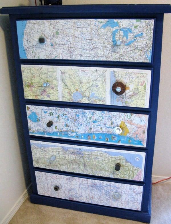 Tiny Box Room Made Into Cool Pre Teen Boys Bedroom: DIY: Map Dresser Boys Room- Design Dazzle