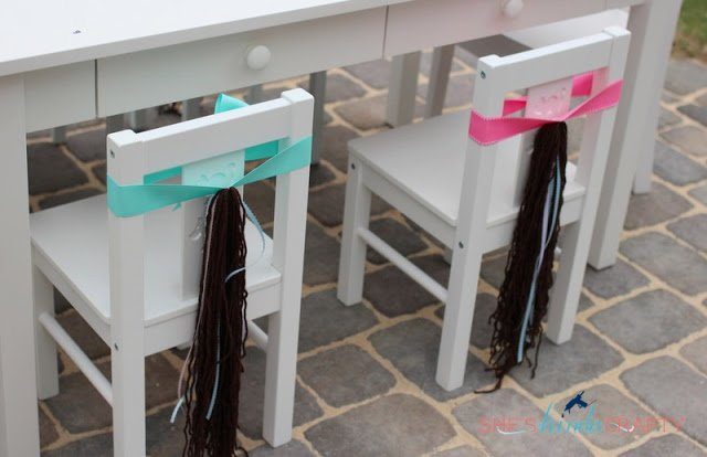 girl horse birthday party chair idea
