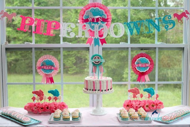 girl horse themed birthday party dessert table