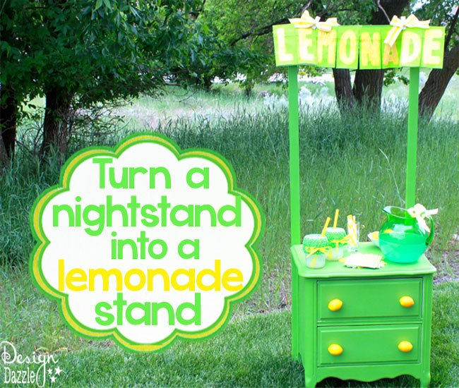 Turn a night stand into a LEMONADE stand! Easy DIY project to repurpose a night stand! Design Dazzle