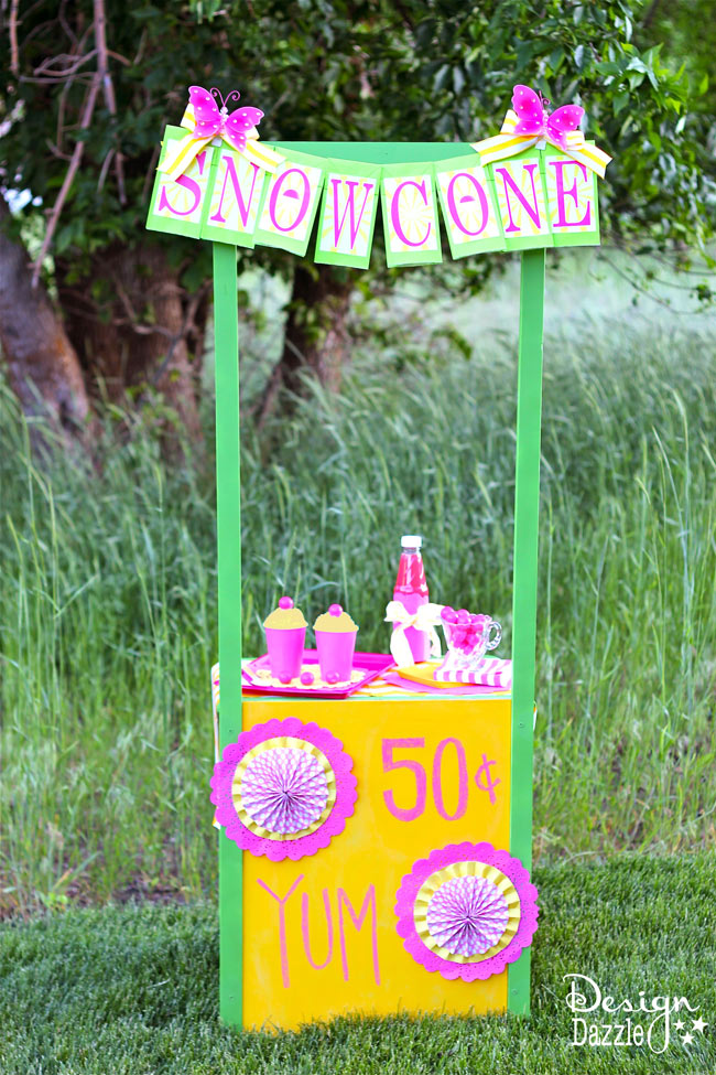 Snow cone stand made from a night stand -- Design Dazzle