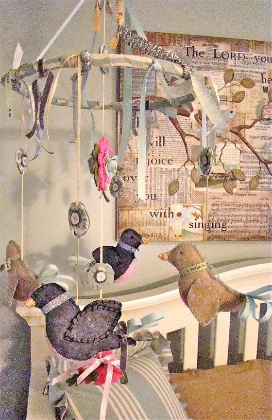 Vintage Neutral Girls Nursery bird mobile