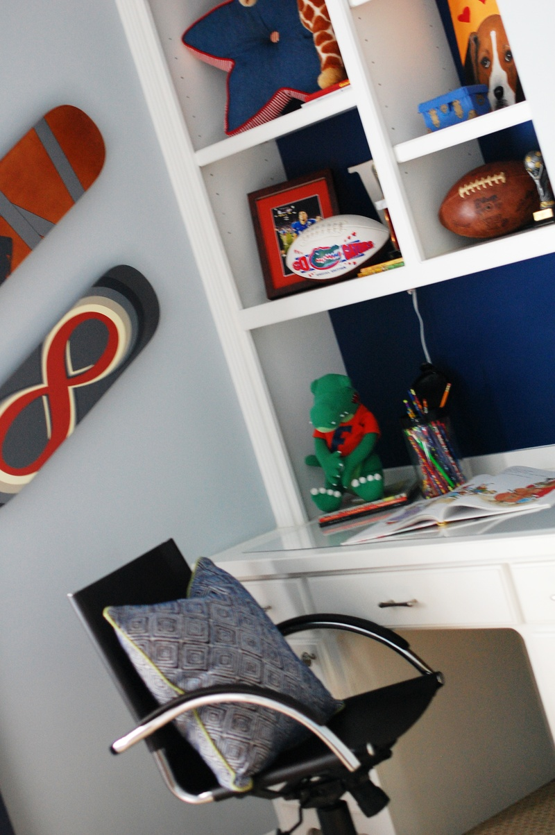 contemporary colorful boys room study