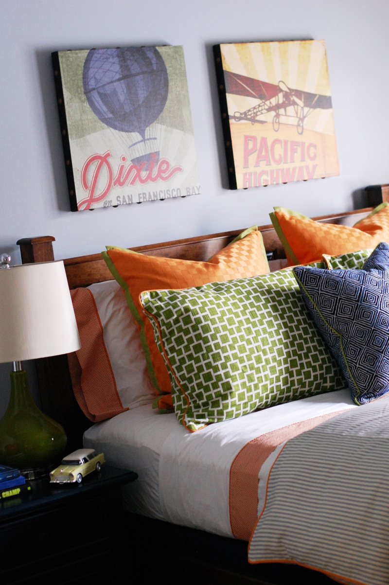 contemporary colorful boys room bed