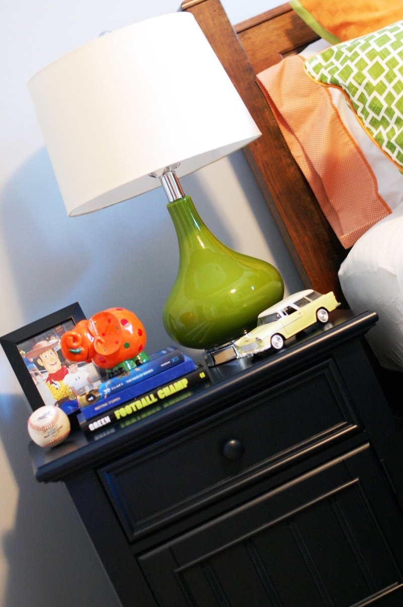 contemporary colorful boys room bedside