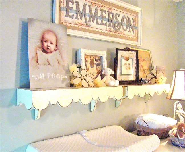 Blue Vintage Girls Nursery wall gallery