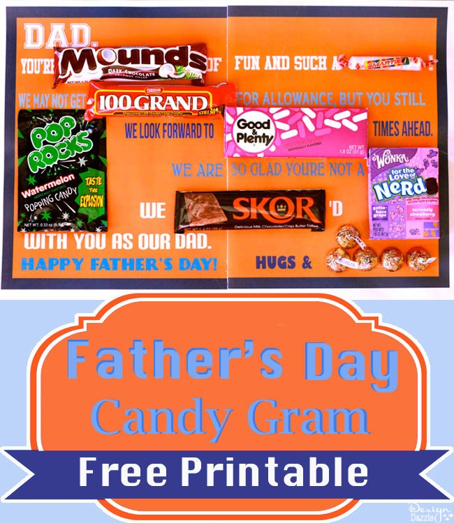 Happy Father's Day Candy Gram {FREE Printable} - Design Dazzle