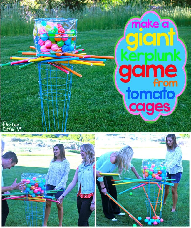 Make a giant outdoor kerplunk game using tomato cages - Design Dazzle