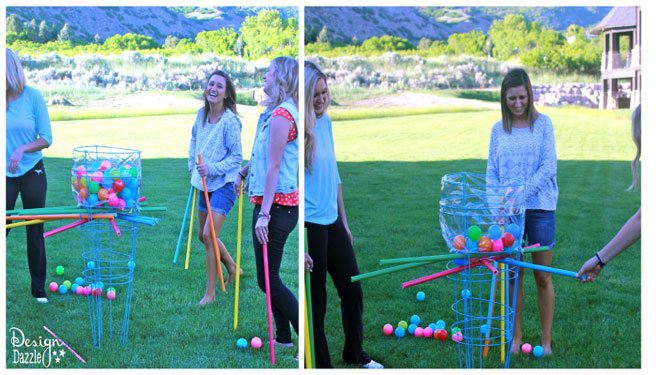Make an outdoor kerplunk game using tomato cages - Design Dazzle
