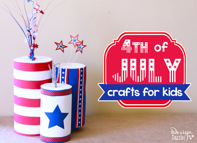 Fourth of July kids crafts made using recyclable containers! Easy craft to make! - Design Dazzle