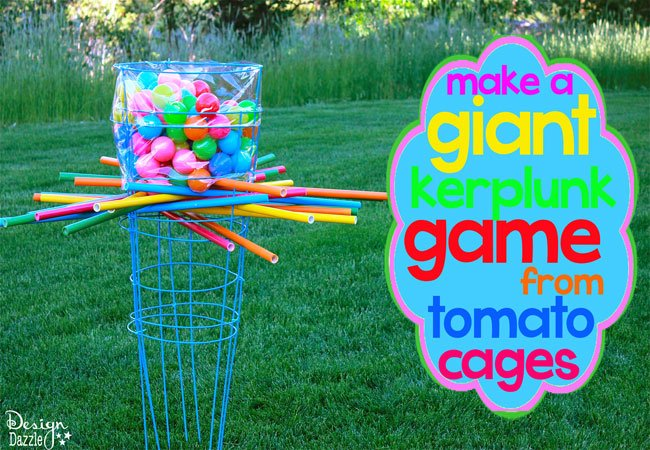 Make a giant outdoor kerplunk game from tomato cages - Design Dazzle!