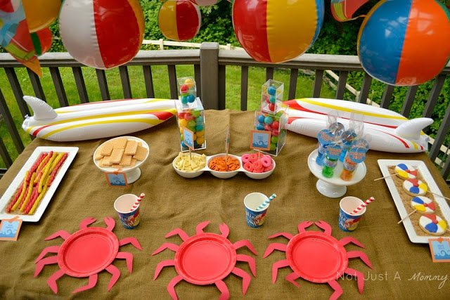 A Day At The Beach playdate party table wide shot