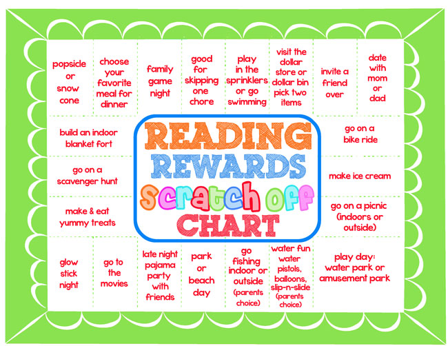 Design Dazzle reading chart with scratch off rewards!!