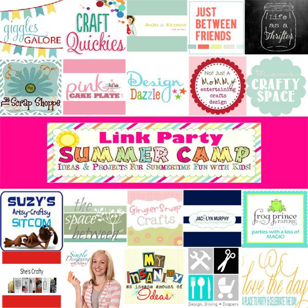 summer camp logos with pink web