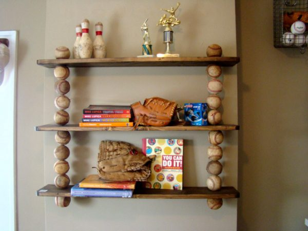 Make shelves with baseballs