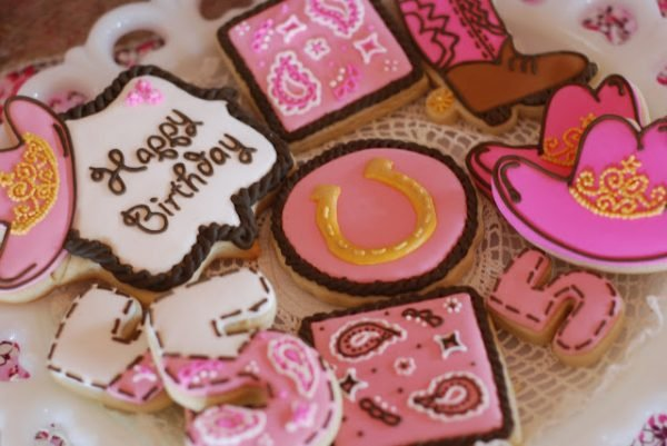 cowgirl princess party cookies
