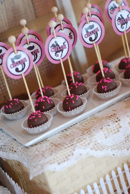 cowgirl princess party cake bites