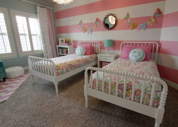 pink striped girls room