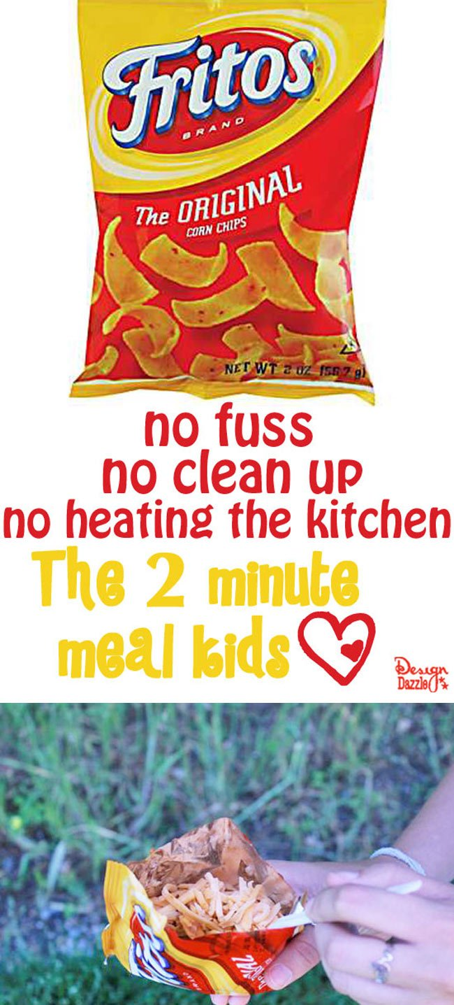 Two minute meals for summertime fun! Easy camping dinner or anytime dinner. No fuss, no clean up, no heating the kitchen! Design Dazzle