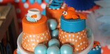 Orange and blue go fish party. Perfect for boys and girls!