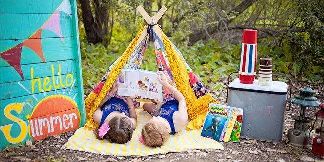 Outdoors reading tent hello summer - Design Dazzle