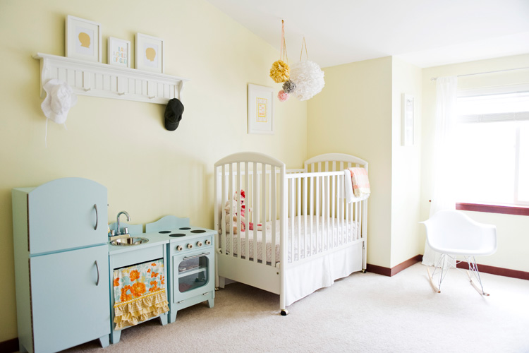 Pink peach girls nursery design dazzle for Baby and toddler sharing bedroom ideas