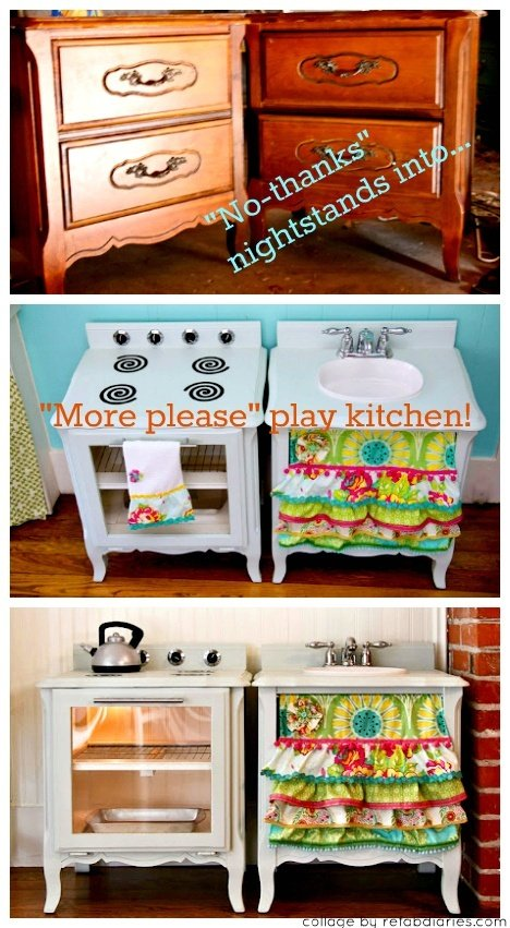 Diy kids play kitchens for Toy kitchen table