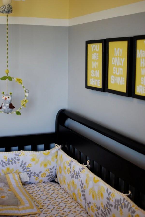 Contemporary yellow gray sunshine nursery design dazzle - Gray and yellow baby room ...