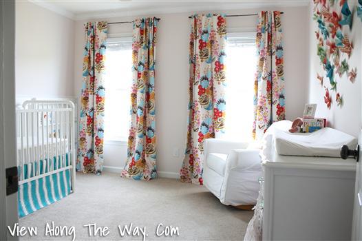 Curtains In The Nursery For Girls You Love The Pops Of Color In The Curtains Bed Skirt And Wall Decor