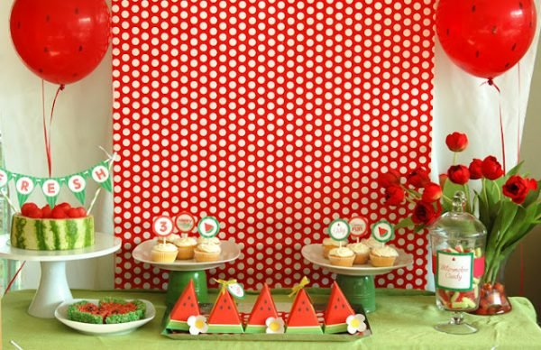 watermelon party with pretty red and white backdrop