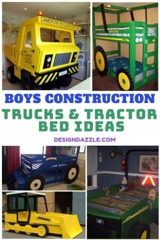 Boys construction trucks tractor bed ideas