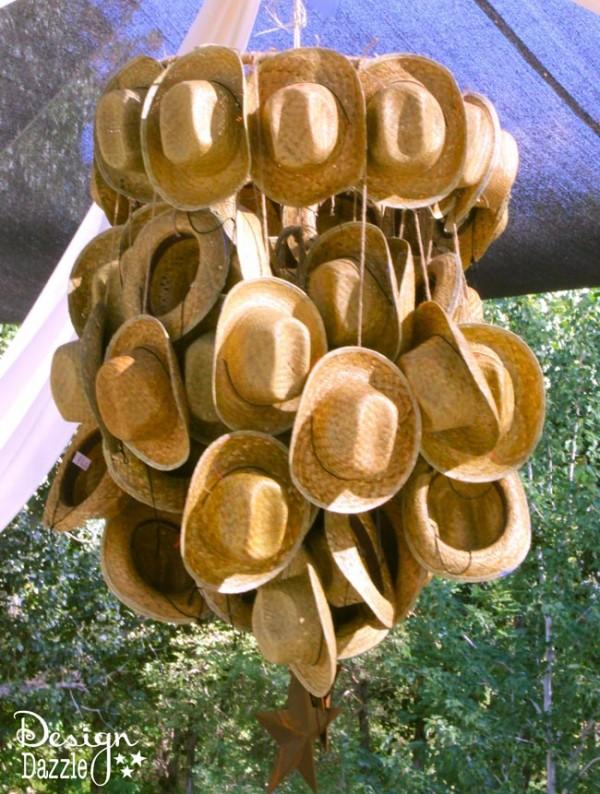 Western themed cowboy hat chandelier - Design Dazzle