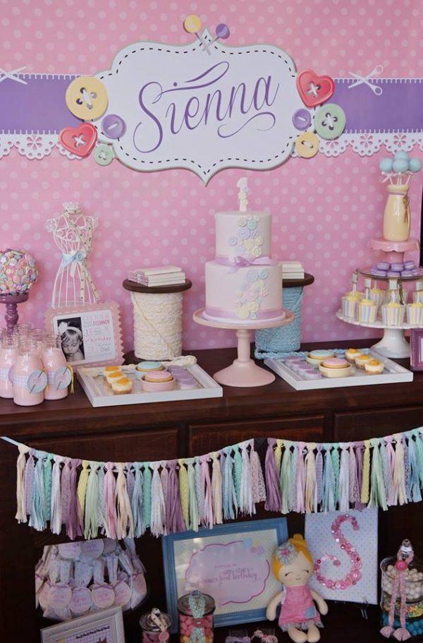 cute as a button birthday dessert table