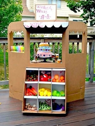 cardboard fruit stand