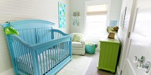 turquoise colored crib