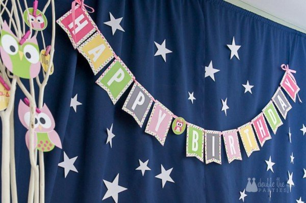 night owl sleepover party banner and backdrop