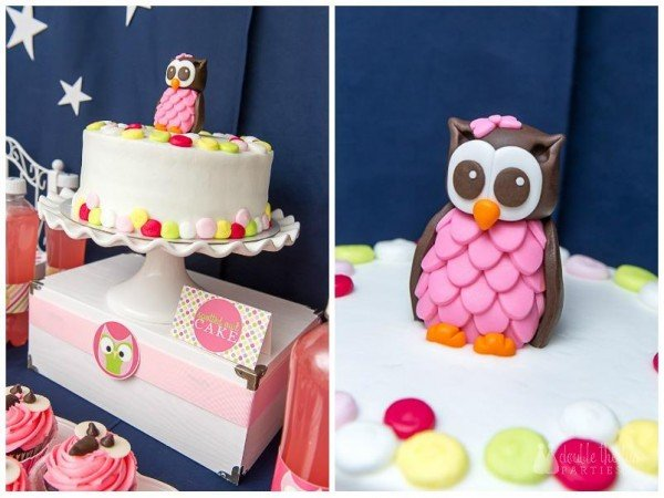 night owl sleepover cake