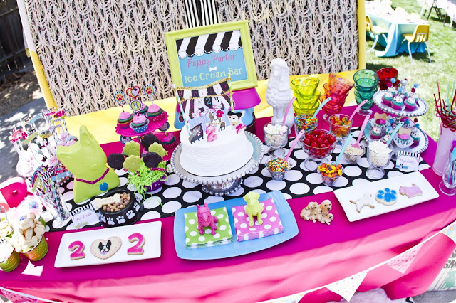 puppy party dessert table