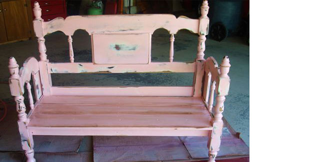 repurposing a bed frame into a pink bench