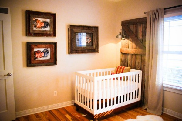 This twin nursery is just too sweet! Love that reclaimed wood decor.