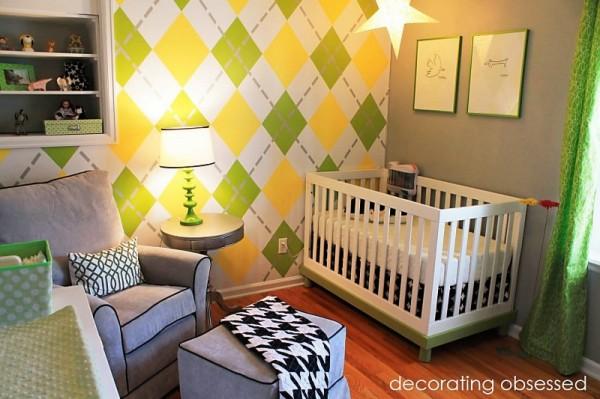 modern yellow and green nursery