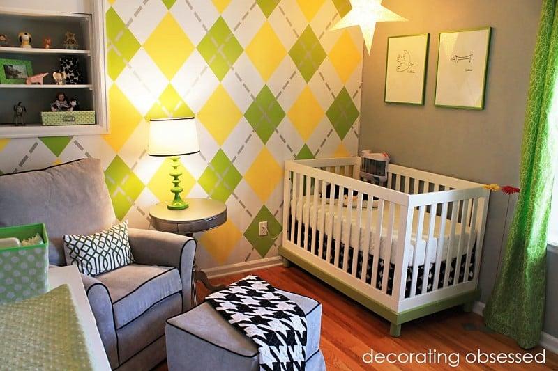 Modern Yellow and Green Nursery Arygle Wall - Design Dazzle