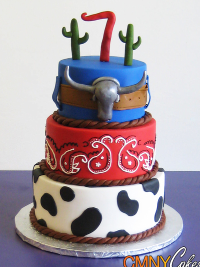 Cowboy Themed Seventh Birthday Cake Design Dazzle