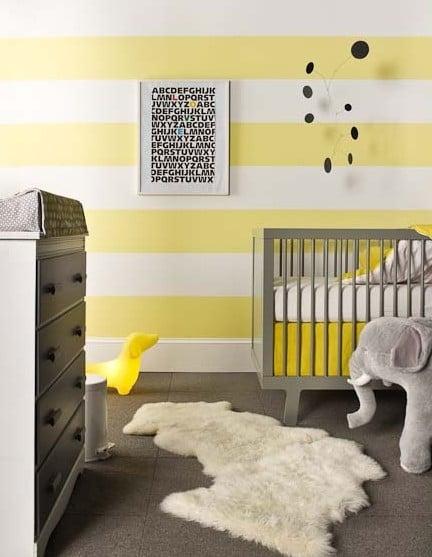 Yellow pink nursery : Yellow and grey baby nursery