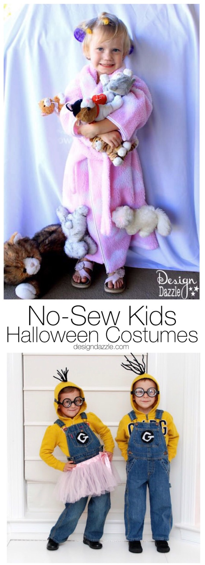We gathered these no-sew kids halloween costumes to show you that you can make homemade costumes with out a sewing machine.