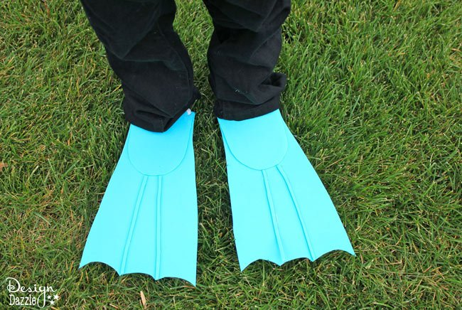 Fins for scuba costume made with craft foam - Design Dazzle