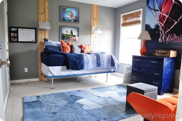 gray blue and orange teen boys room