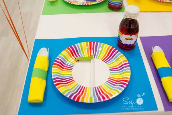 rainbow place settings