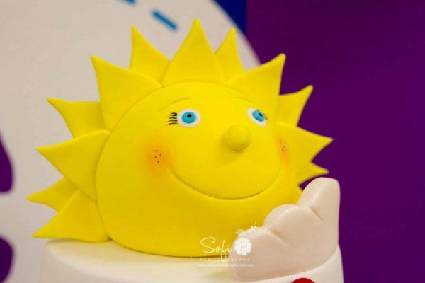 rainbow cake fondant sun